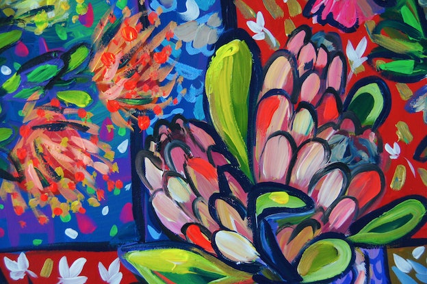 (CreativeWork) Still Life with Flowers and Patterns  by Katerina Apale. Acrylic Paint. Shop online at Bluethumb.