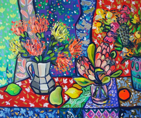 (CreativeWork) Still Life with Flowers and Patterns  by Katerina Apale. #<Filter:0x00007fec14a59a08>. Shop online at Bluethumb.