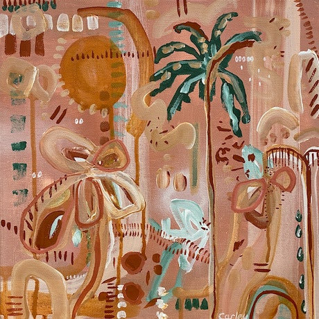 (CreativeWork) Palm Summer 2 by Carley Bourne. Acrylic Paint. Shop online at Bluethumb.
