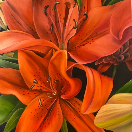 (CreativeWork) Celebration Lily by Linda McGowan. Oil Paint. Shop online at Bluethumb.