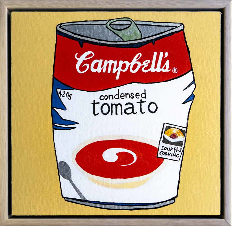 (CreativeWork) Lunch, Ruined - Campbell's Soup by Steve Munro. Acrylic Paint. Shop online at Bluethumb.