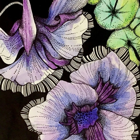 (CreativeWork) Lilac Flowering Native by Tania Daymond. Drawings. Shop online at Bluethumb.