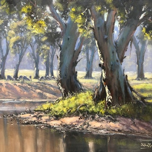 (CreativeWork) Three Gums On The River by John Rice. Oil Paint. Shop online at Bluethumb.