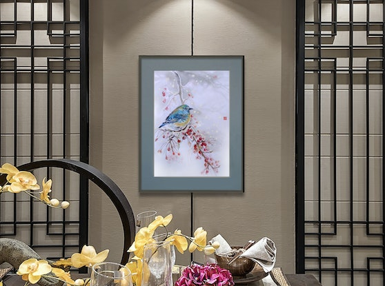 (CreativeWork) SNOWY by Doudou Huang. Watercolour Paint. Shop online at Bluethumb.
