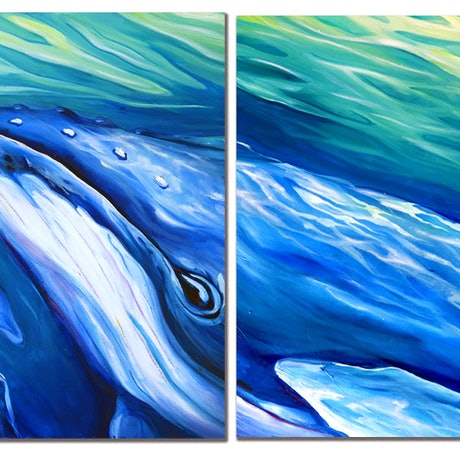 (CreativeWork) Humpback Mother and Calf by Deb Broughton. Oil Paint. Shop online at Bluethumb.