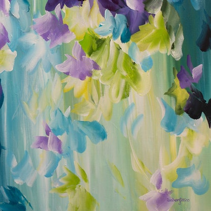 (CreativeWork) Aurora Blooms by Amber Gittins. Acrylic Paint. Shop online at Bluethumb.