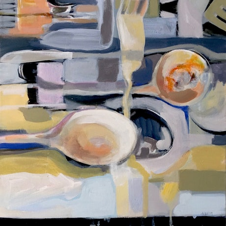 (CreativeWork) Spoons Abstract by Adel Sainsbury. Acrylic. Shop online at Bluethumb.