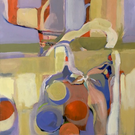 """(CreativeWork) """"Vase with Limes"""" by Adel Sainsbury. Acrylic. Shop online at Bluethumb."""