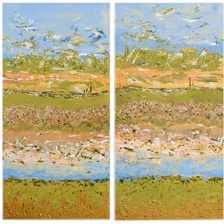 (CreativeWork) Desert Birdsong - Lake Eyre, Diptych by Kathie Nichols. Mixed Media. Shop online at Bluethumb.
