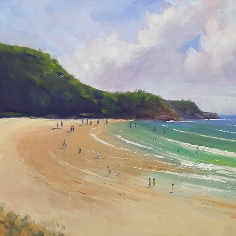 (CreativeWork) Sunshine Beach, Noosa by Rod Moore. Oil Paint. Shop online at Bluethumb.