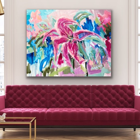 (CreativeWork) Modern Love - Oriental Lily Flower Abstract by Jen Shewring. Acrylic Paint. Shop online at Bluethumb.