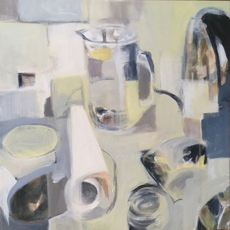 """(CreativeWork) """"Jug, Kettle and Paper Towel"""" Framed by Adel Sainsbury. Acrylic Paint. Shop online at Bluethumb."""