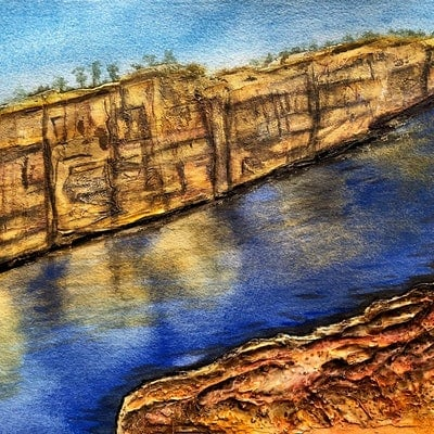 (CreativeWork) Katherine Gorge by Veronica Hodges. Mixed Media. Shop online at Bluethumb.