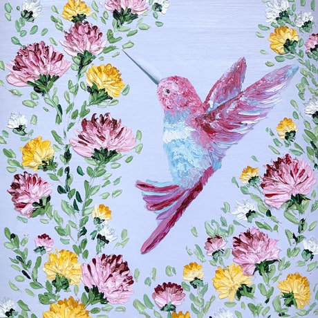(CreativeWork) Colorful Hummingbird  by Ashley Bunting. Oil Paint. Shop online at Bluethumb.