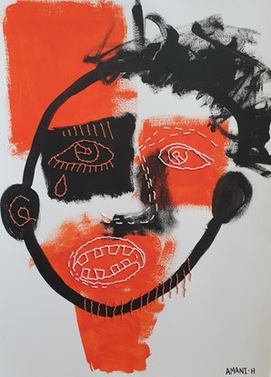 (CreativeWork) Orange is the new black by Amani Haydar. Mixed Media. Shop online at Bluethumb.