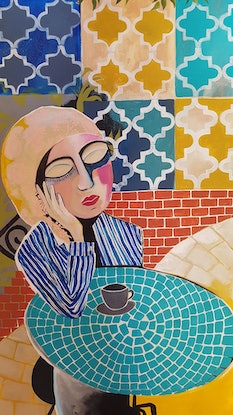 (CreativeWork) Solitude in the cafe by Amani Haydar. Acrylic Paint. Shop online at Bluethumb.
