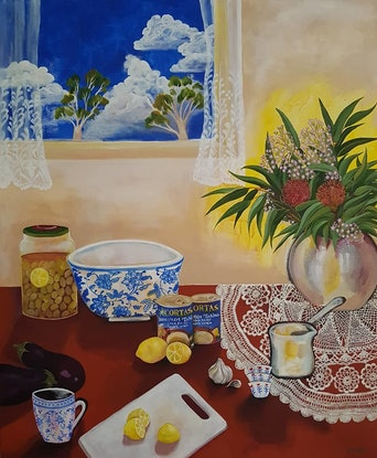 (CreativeWork) In the corner of every Arab kitchen by Amani Haydar. Acrylic Paint. Shop online at Bluethumb.