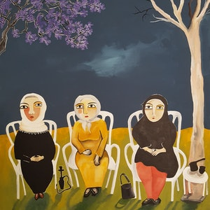 (CreativeWork) Grandmas in the park by Amani Haydar. #<Filter:0x00007f54b4712cc0>. Shop online at Bluethumb.