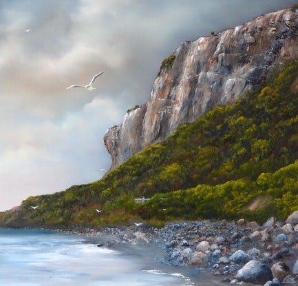 (CreativeWork) The View of The Nut from Godfrey's Beach by Elaine Green. Oil Paint. Shop online at Bluethumb.