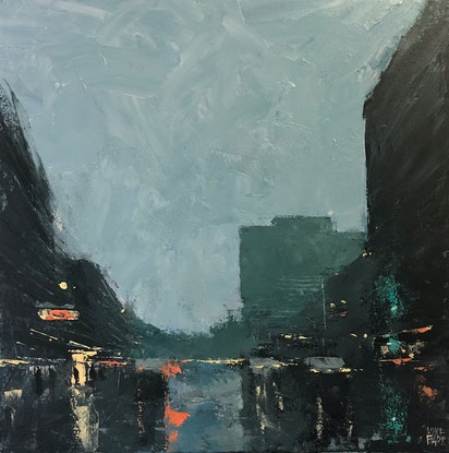 (CreativeWork) Rain on Grote - rainy day painting with texture and mood by Mike Barr. Acrylic Paint. Shop online at Bluethumb.