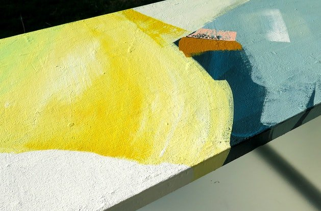 (CreativeWork) Pana - yellow grey blue abstract by Stephanie Laine. Acrylic Paint. Shop online at Bluethumb.