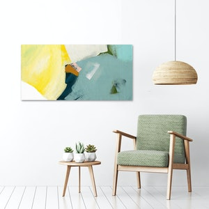 (CreativeWork) Pana - yellow grey blue abstract by Stephanie Laine. #<Filter:0x00007fbc89e55270>. Shop online at Bluethumb.