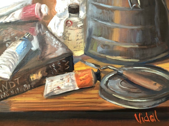 (CreativeWork) At the Art Atelier Studio - still life by Christopher Vidal. Oil. Shop online at Bluethumb.