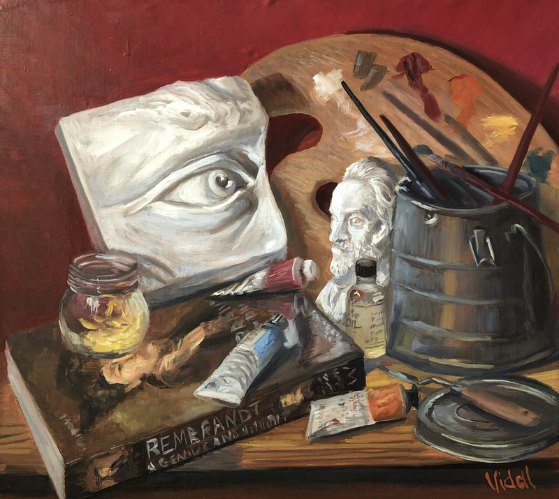 (CreativeWork) At the Art Atelier Studio - still life by Christopher Vidal. Oil Paint. Shop online at Bluethumb.