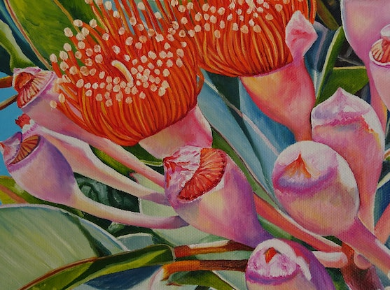 (CreativeWork) Nature's Fireworks by Delma White. Oil Paint. Shop online at Bluethumb.