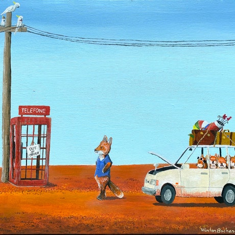 (CreativeWork) The Out of Service Phone Box by Winton Bochanowicz. Acrylic Paint. Shop online at Bluethumb.