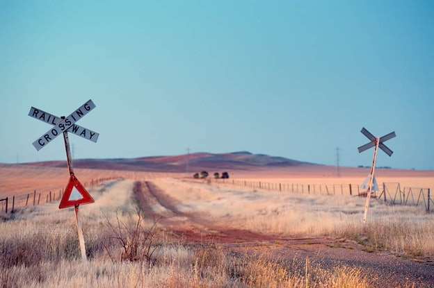 (CreativeWork) Road fought the Rail and the road won Ed. 1 of 3 by Alex Frayne. Photograph. Shop online at Bluethumb.