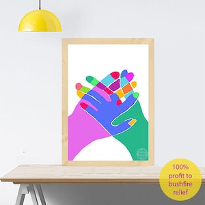(CreativeWork) Hand in Hand - Australia (for Bushfire relief) A2 Ed. 12 of 100 by Shana Danon. #<Filter:0x000055ba680a7da0>. Shop online at Bluethumb.