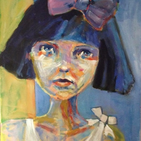 (CreativeWork) Girl with two bows by Margo Vigorito. Acrylic Paint. Shop online at Bluethumb.