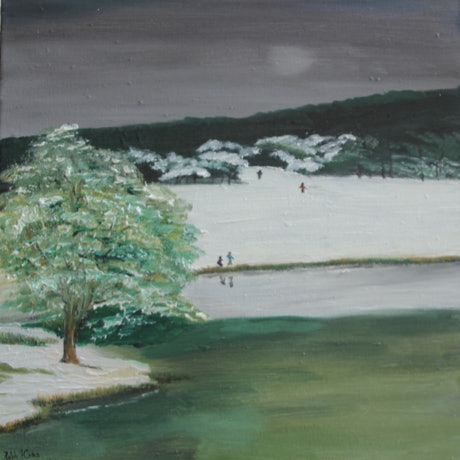(CreativeWork) Lake Crackenback 2 by Ralph Coles. Oil Paint. Shop online at Bluethumb.