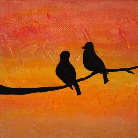 (CreativeWork) Love Birds out on a Limb by Ann Perrot. Acrylic Paint. Shop online at Bluethumb.