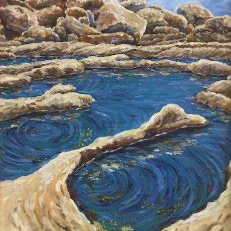 (CreativeWork) Ripples on the Rockpools by Sue McCutcheon. Oil Paint. Shop online at Bluethumb.