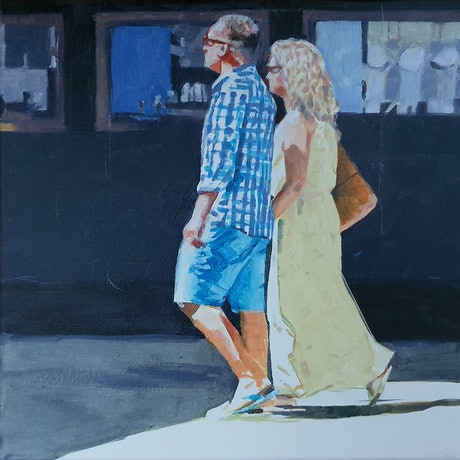 (CreativeWork) Not looking at Jewellery by Richard Burkitt. Oil Paint. Shop online at Bluethumb.