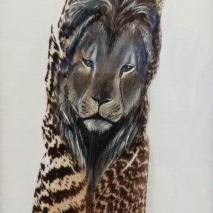 (CreativeWork) Lion on a Feather  by Amanda Skye. #<Filter:0x00007fe980ec8dc8>. Shop online at Bluethumb.