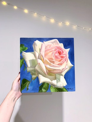 (CreativeWork) Soft Rose by Holly Harper. Oil. Shop online at Bluethumb.
