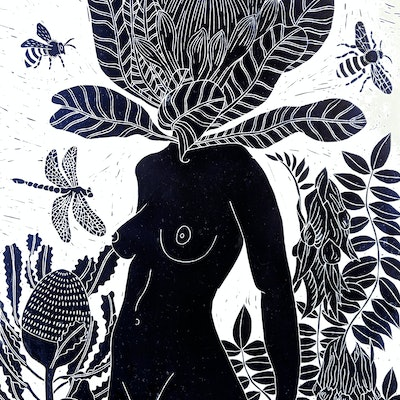 (CreativeWork) Penny Protea Lino print - Printed in Prussian Blue - Framed Ed. 15 of 150 by Marinka Parnham. Print. Shop online at Bluethumb.