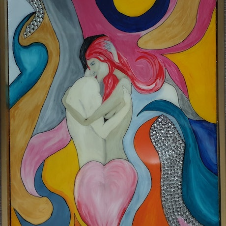 (CreativeWork) Lovers by Renee winfield. Mixed Media. Shop online at Bluethumb.
