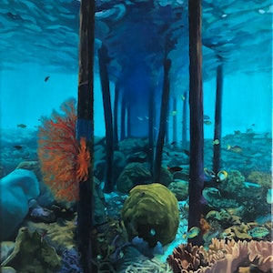 (CreativeWork) Life under the Jetty by Zoe Barber. #<Filter:0x00007f18cb191398>. Shop online at Bluethumb.