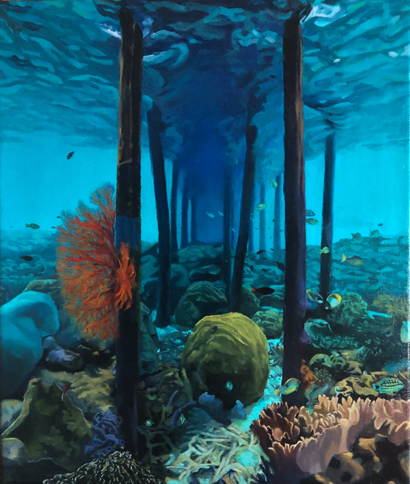 (CreativeWork) Life under the Jetty by Zoe Barber. Oil Paint. Shop online at Bluethumb.