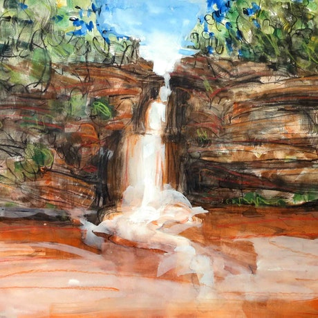 (CreativeWork) Genoa Falls - Mallacotta Series  2018 by John Graham. Mixed Media. Shop online at Bluethumb.