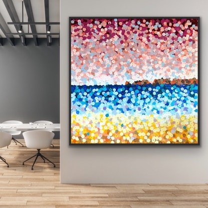 (CreativeWork) Haycock point 2 122x122 framed large abstract beach painting  by Sophie Lawrence. Acrylic Paint. Shop online at Bluethumb.