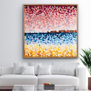 (CreativeWork) Haycock point 2 122x122 framed large abstract beach painting  by Sophie Lawrence. #<Filter:0x00007fcfd744cd08>. Shop online at Bluethumb.