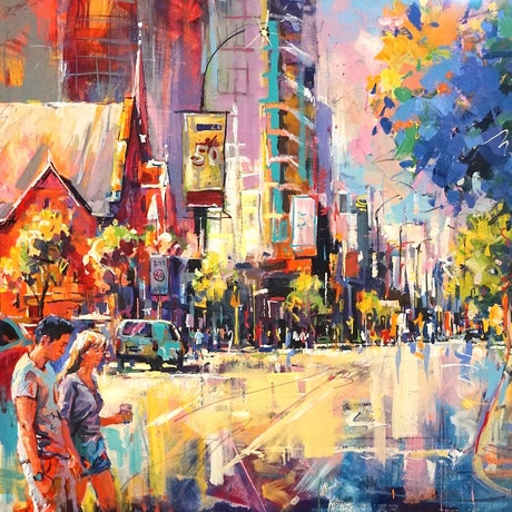 (CreativeWork) St Georges Tce, Perth by Jos Coufreur. Acrylic Paint. Shop online at Bluethumb.