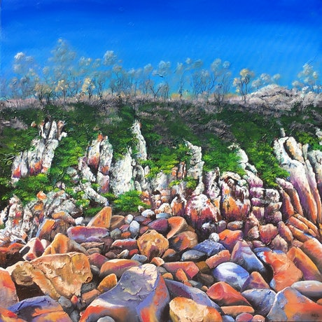 (CreativeWork) The Cliffs of Zenith by Kim Neil. Acrylic Paint. Shop online at Bluethumb.