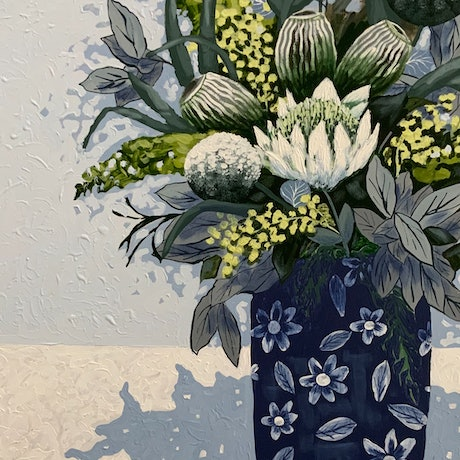 (CreativeWork) Wattle in Chintz by Diane McDonald. Acrylic Paint. Shop online at Bluethumb.