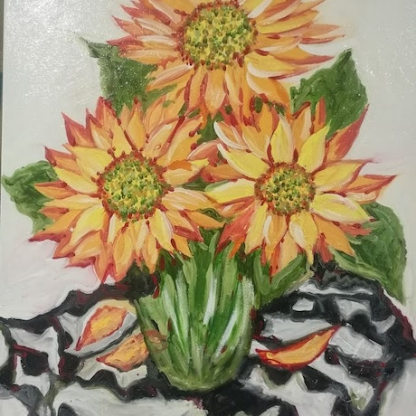 (CreativeWork) sunflowers by mary shackman. Oil Paint. Shop online at Bluethumb.